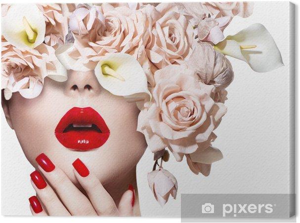 Canvas Vogue stijl model meisje gezicht met rozen. Sexy rode lippen en nagels. - Thema's