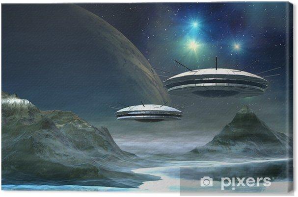 Canvas Vreemde Wereld - Fantasy Planeet met UFO's -