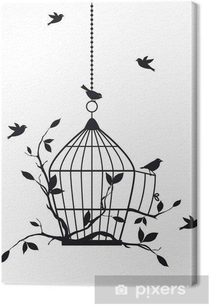 Canvas Vrije vogels met open vogelkooi, vector -