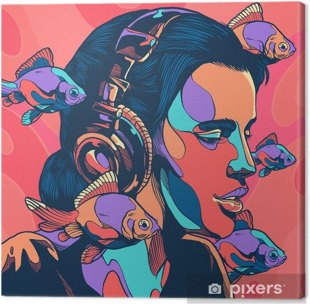 Canvas Vrouw met vis - Hobby's en Vrije tijd