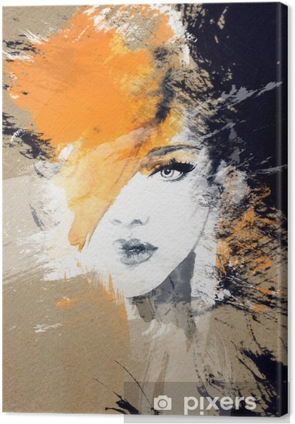 Canvas Vrouw portret .abstract aquarel Mode-achtergrond - Mensen