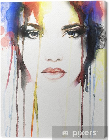 Canvas Vrouw portret .abstract aquarel - Mensen