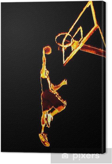 Canvas Vurige Basketball Slam Dunk - Basketbal