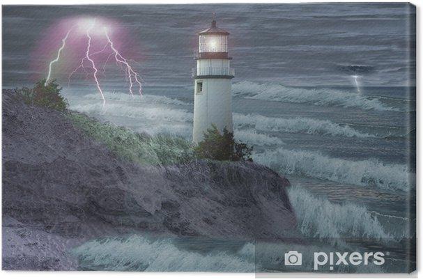Canvas Vuurtoren in storm - Vuurtoren