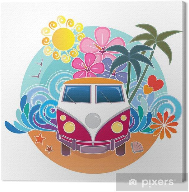 Canvas VW vintage surfen camper - Palmbomen