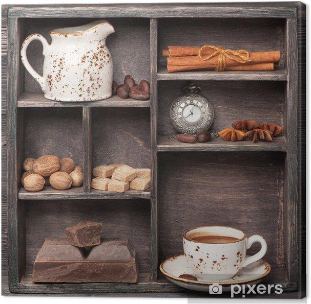 Canvas Warme chocolademelk en specerijen. Vintage set in houten doos. Сollage - Thema's