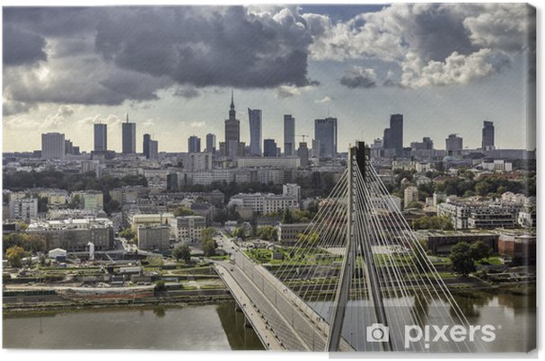 Canvas Warschau skyline achter de brug - Thema's