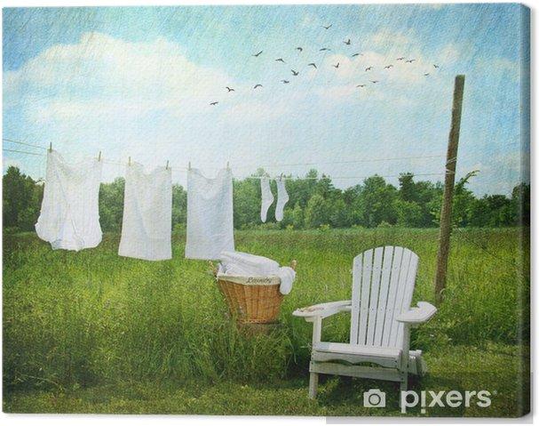 Canvas Wasgoed drogen op waslijn - Huis en Tuin