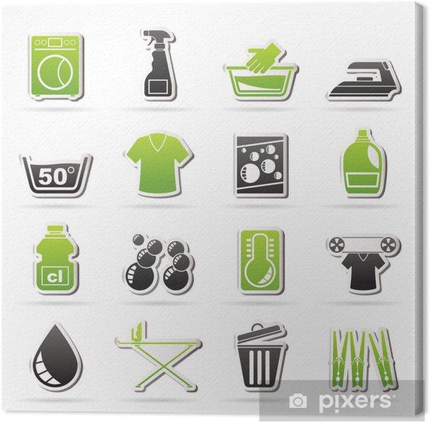 Canvas Wasmachine en iconen - vector icon set - Tekens en Symbolen