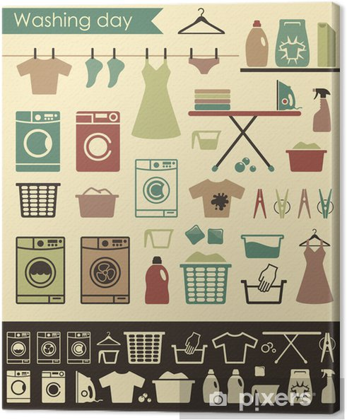 Canvas Wasserij-iconen - Huis en Tuin