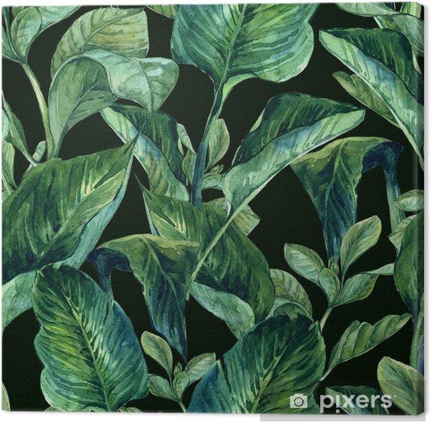 Canvas Watercolor Naadloze Achtergrond met Tropische Bladeren - Bloemen en planten