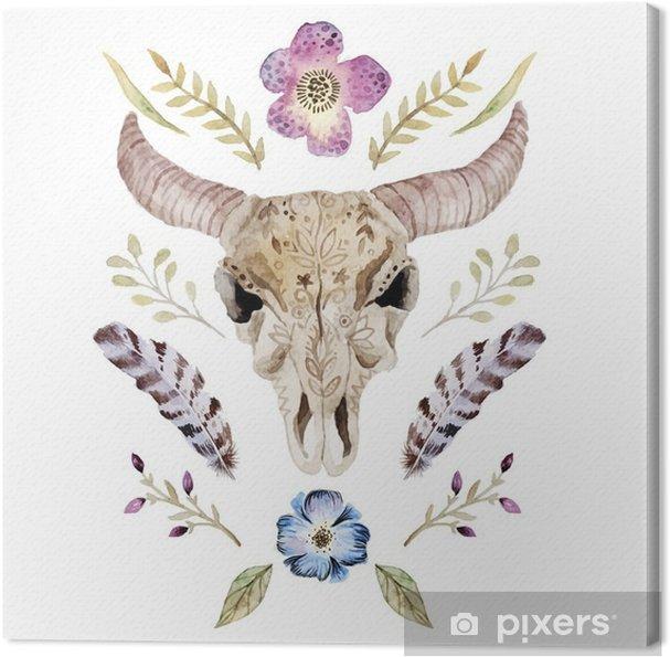 Canvas Watercolor vector boho illustratie met schedel - Grafische Bronnen