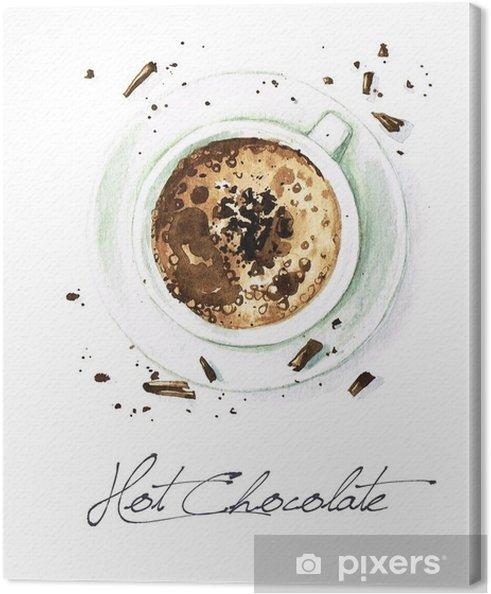 Canvas Watercolor Voedsel Schilderij - Hot Chocolate - Drankjes