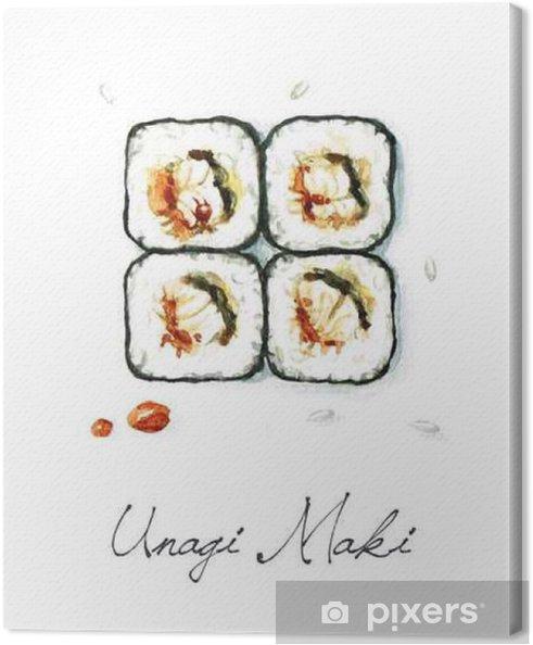 Canvas Watercolor Voedsel Schilderij - Unagi Maki - Eten