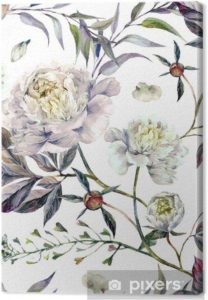 Canvas Watercolour White Peonies Pattern - Bloemen en Planten
