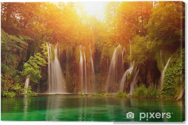 Canvas Watervallen in nationaal park. Plitvice, Kroatië - Thema's