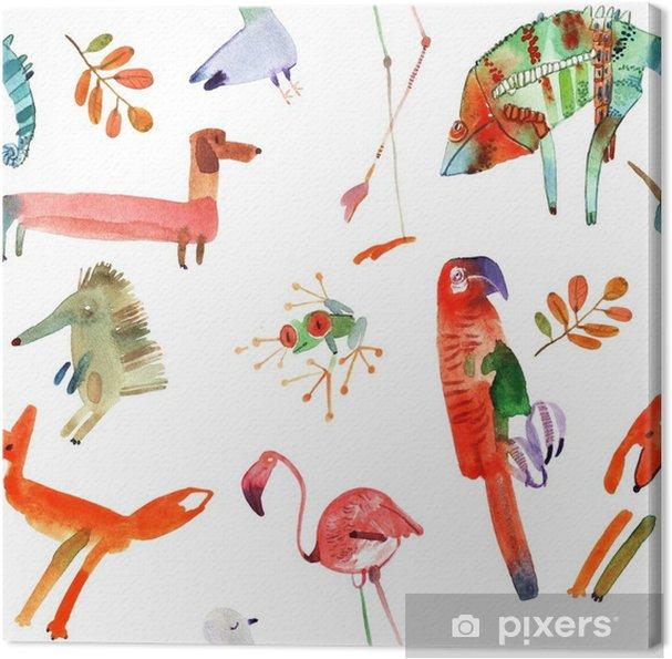 Canvas Waterverf dieren set - Dieren
