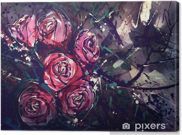 Canvas Waterverf het schilderen stijl rozen Abstracte kunst. - Hobby's en Vrije tijd