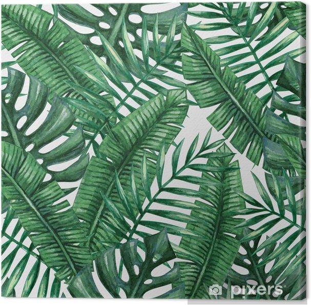 Canvas Waterverf het tropische palm verlaat naadloos patroon. Vector illustratie. - Grafische Bronnen