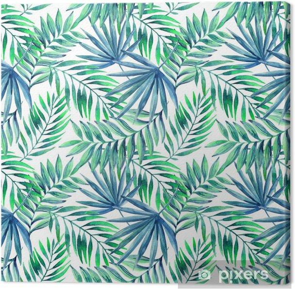 Canvas Waterverf het tropische verlaat naadloos patroon - Bloemen en planten