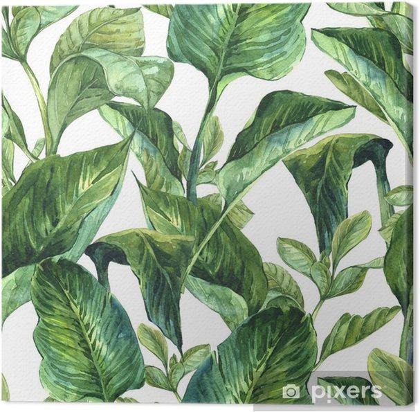 Canvas Waterverf met tropische bladeren - Bloemen en Planten