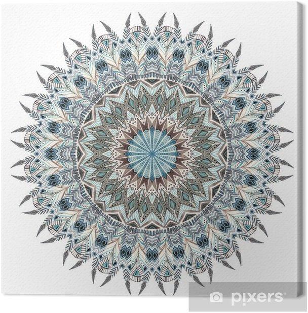 Canvas Waterverfsamenvatting mandala met gestileerde veren - Grafische Bronnen