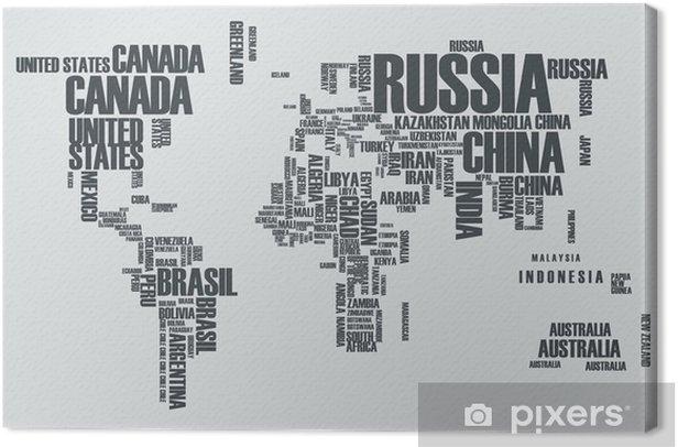 Canvas Wereldkaart: de contouren van het land bestaat uit de woorden - Tienerkamer (jongen)