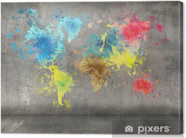 Canvas Wereldkaart gemaakt van verf spatten op de betonnen muur achtergrond - iStaging