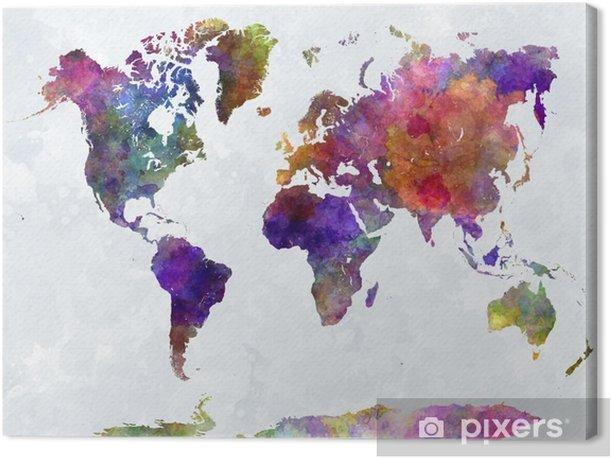 Canvas Wereldkaart in watercolorpurple en blauw -