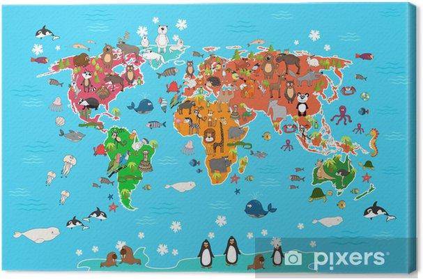 Canvas Wereldkaart met dieren. Monkey en egel, beer en kangoeroe, hazen wolf panda en pinguïn en papegaai. Dieren wereldkaart vector illustratie in cartoon-stijl - Openbare Gebouwen