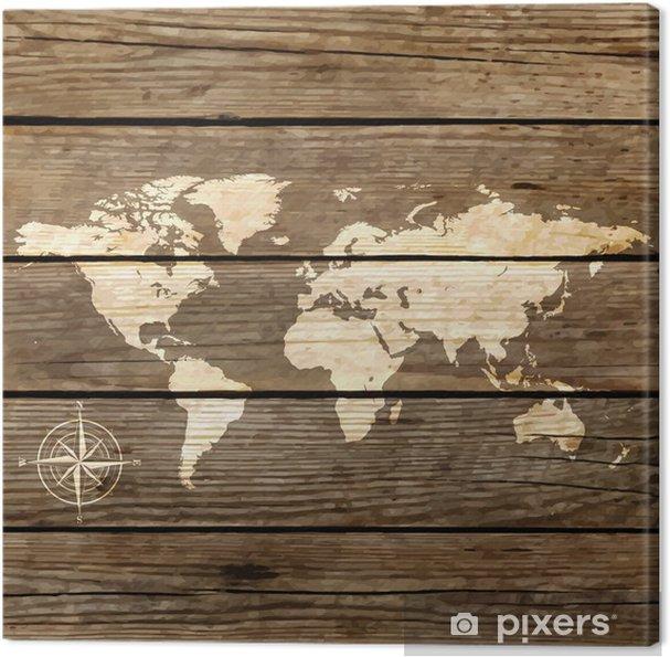 Canvas Wereldkaart op een houten plank vector - Thema's
