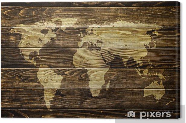 Canvas Wereldkaart op houten achtergrond -