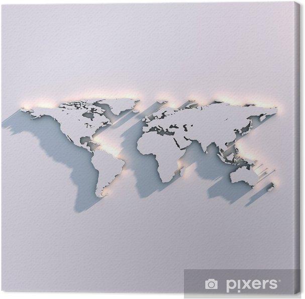 Canvas Wereldkaart reliëf op de muur - Thema's