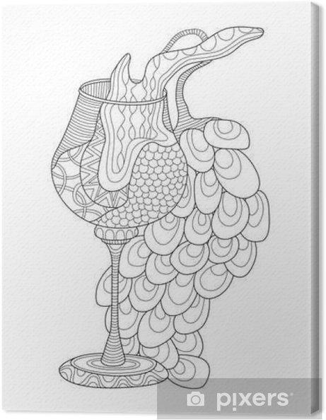 Kleurplaten Fantasie Volwassenen.Canvas Wijn Glas Met Druiven Kleurplaat Voor Volwassenen In Zentanglestijl