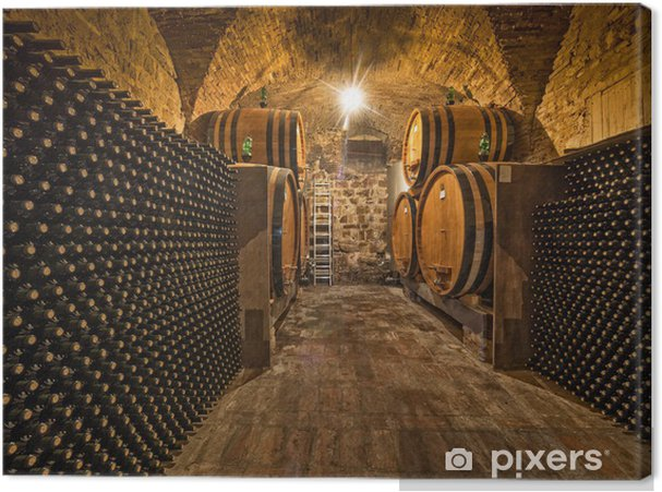 Canvas Wijnkelder met flessen en eiken vaten - Stijlen
