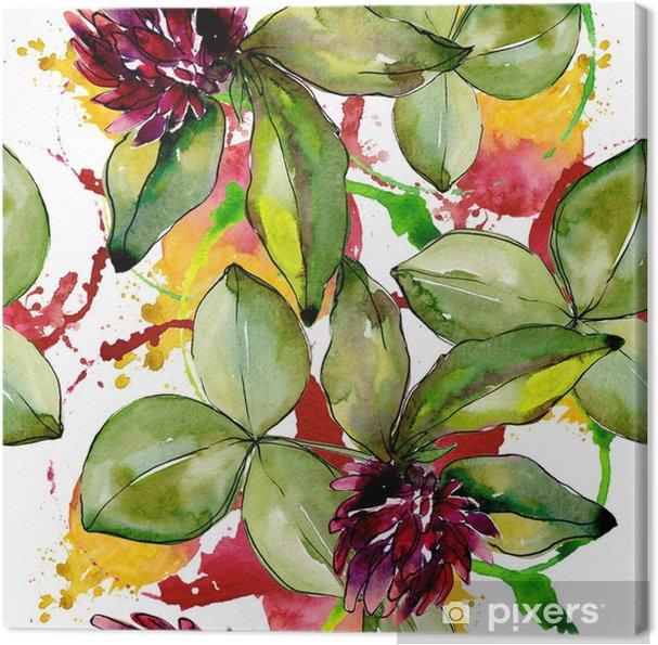 Canvas Wilde klavertje. bloemen botanische bloem. wild lente blad wildflower patroon. aquarelle wildflower voor achtergrond, textuur, wrapper patroon, frame of rand. - Bloemen en Planten