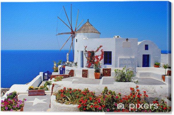 Canvas Windmolen op eiland Santorini, Griekenland - Santorini