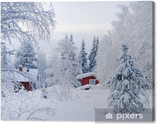 Canvas Winters verhaal. Rode Finse huisje in een prachtige sneeuw bos. - Bossen