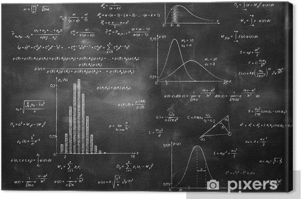 Canvas Wiskundige natuurkunde formules op bord - Levensstijl