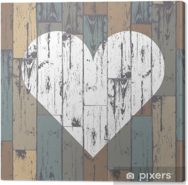 Canvas Wit hart op houten achtergrond. Vector, EPS10 - Tekens en Symbolen
