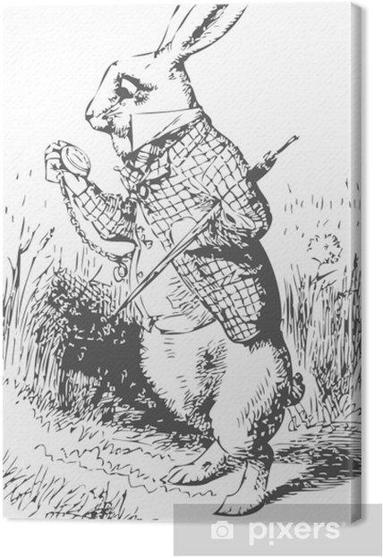 Canvas Wit konijn met horloge Alice Wonderland - Konijnen