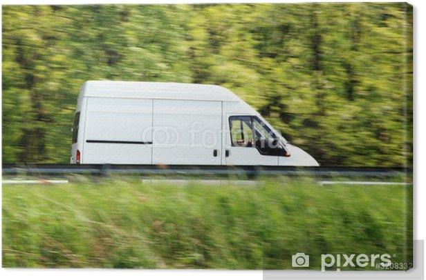 Canvas Witte bestelwagen - Onderweg