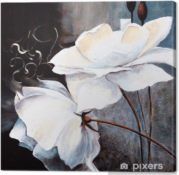 Canvas Witte bloemen - Kunst en Creatie