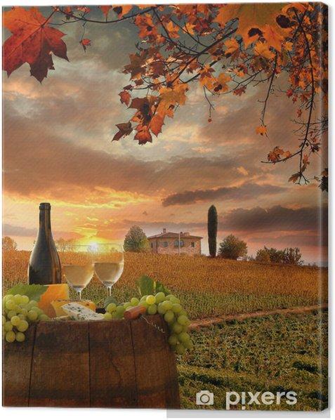 Canvas Witte wijn met barell in de wijngaard, Chianti, Toscane, Italië - Thema's