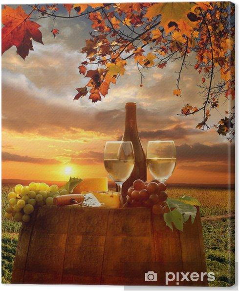 Canvas Witte wijn met barell in de wijngaard, Chianti, Toscane, Italië - Toscane