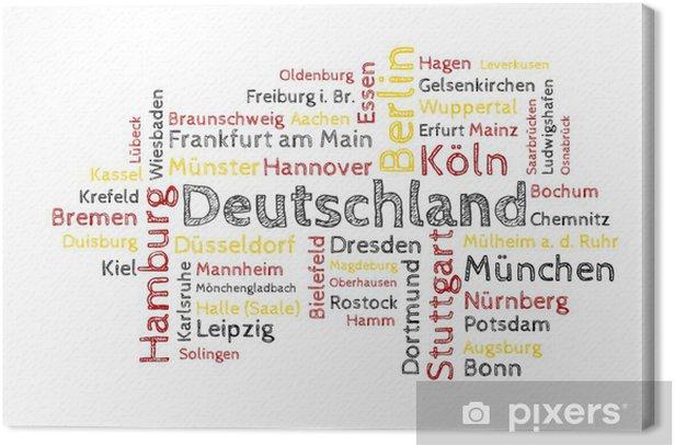 Canvas Wolk van Word - 50 Duitse steden gekleurd - Europa