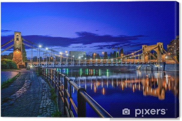 Canvas Wroclaw by night (Most Grunwald) - Thema's