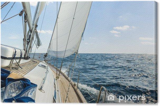 Canvas Yacht zeilen in de Atlantische oceaan op een zonnige dag cruise - iStaging