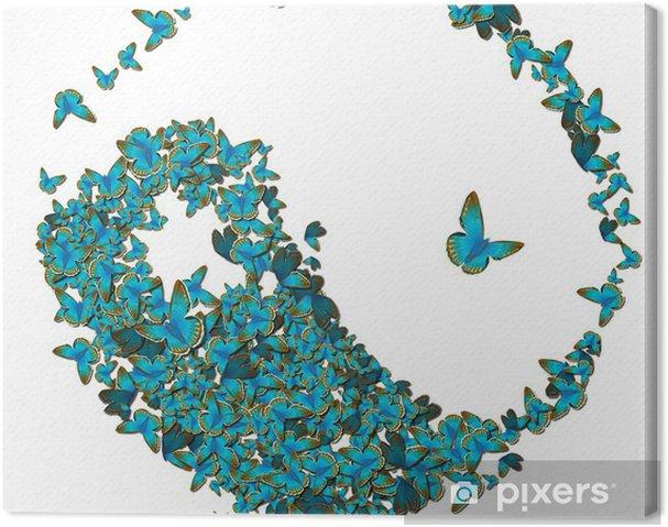Canvas Yin yang van vlinders - Religie
