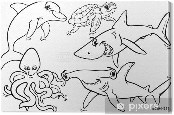 Kleurplaten Onder Water.Canvas Zee Leven Vissen En Andere Dieren Kleurplaat